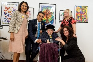 Anita Goyal, Hallmark Care Homes Managing Director Avnish Goyal, resident Merle Davies, 94, Artist Charlotte Jones and Group Lifestyle Manager Debbie Sharples-Kirkbride MBE